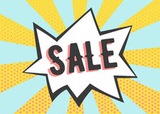 Sale poster in pop art style. Retro rays with dots banner Stock Image