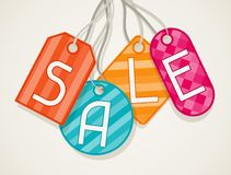Sale poster with price labels in flat design style Stock Image
