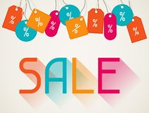 Sale poster with price labels in flat design style Royalty Free Stock Photo