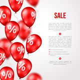 Sale Poster with Red Balloons Stock Photo