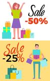 Sale -25 and -50 Poster Set Vector Illustration. Sale -25 and -50 poster set pf two pictures with shopping people filled with happiness and joy holding bags Royalty Free Stock Image