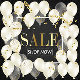 Sale Poster with Shiny Balloons Background with Square Frame. Vector illustration. Stock Photo