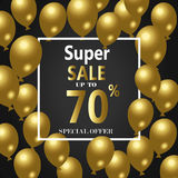 Sale Poster with Shiny Balloons Background with Square Frame. Vector illustration. Sale Poster with Shiny Balloons Square Frame. Vector illustra Stock Photo