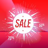 Sale poster with star on red background Stock Photography