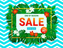 Sale poster. Summer sellout banner. trendy tropical style. Floral jungle background with exotic tropic flowers, leaves. End of the royalty free illustration
