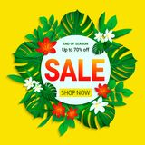 Sale poster. Summer sellout banner. trendy tropical style. Floral jungle background with exotic tropic flowers, leaves royalty free illustration