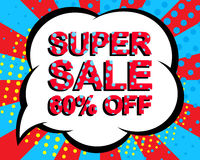 Sale poster with SUPER SALE 60 PERCENT OFF text. Advertising vector banner. Sale poster with SUPER SALE 60 PERCENT OFF text. Advertising blue and red vector Royalty Free Stock Photography