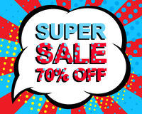 Sale poster with SUPER SALE 70 PERCENT OFF text. Advertising vector banner. Sale poster with SUPER SALE 70 PERCENT OFF text. Advertising blue and red vector Royalty Free Stock Photography