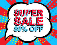 Sale poster with SUPER SALE 80 PERCENT OFF text. Advertising vector banner. Sale poster with SUPER SALE 80 PERCENT OFF text. Advertising blue and red vector royalty free illustration