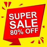 Sale poster with SUPER SALE 80 PERCENT OFF text. Advertising vector banner. Sale poster with SUPER SALE 80 PERCENT OFF text. Advertising and red vector banner stock illustration