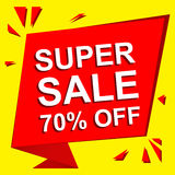 Sale poster with SUPER SALE 70 PERCENT OFF text. Advertising vector banner. Sale poster with SUPER SALE 70 PERCENT OFF text. Advertising and red vector banner royalty free illustration