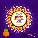 Sale poster or template design with 65% discount offer and flora. L frame decorated purple abstract background for Navratri Festival concept Vector Illustration