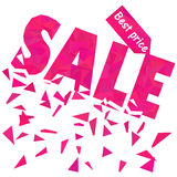 Sale poster template in polygonal style in pink Stock Photography