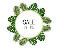 Sale poster in tropical leaves . stock illustration