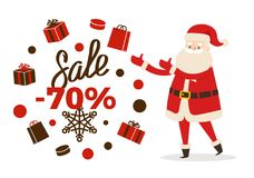 Sale Poster Up to 70 Price Reduction, Santa Icon. Sale poster up to 70 price reduction, Santa and calligraphic inscription on snowflakes surrounded by gift boxes Stock Photography