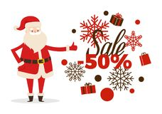 Sale Poster Up to 50 Price Reduction, Santa Icon. Sale poster up to 50 price reduction, Santa and calligraphic inscription on snowflakes surrounded by gift boxes stock illustration