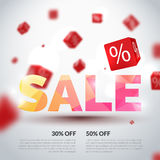 Sale poster. Vector illustration. Design template for holiday sale event. 3d cubes with percents. Original festive Stock Photos