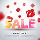 Sale poster. Vector illustration. Design template for holiday sale event. 3d cubes with percents. Original festive Royalty Free Stock Images