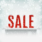 Sale poster with white realistic shelf on winter Stock Photo