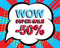 Sale poster with WOW SUPER SALE MINUS 50 PERCENT text. Advertising vector banner. Sale poster with WOW SUPER SALE MINUS 50 PERCENT text. Advertising blue and red Stock Illustration