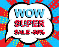Sale poster with WOW SUPER SALE MINUS 30 PERCENT text. Advertising vector banner. Sale poster with WOW SUPER SALE MINUS 30 PERCENT text. Advertising blue and red Stock Images