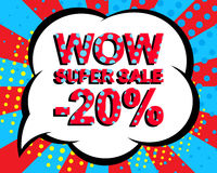 Sale poster with WOW SUPER SALE MINUS 20 PERCENT text. Advertising vector banner. Sale poster with WOW SUPER SALE MINUS 20 PERCENT text. Advertising blue and red stock illustration