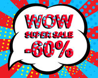 Sale poster with WOW SUPER SALE MINUS 60 PERCENT text. Advertising vector banner Royalty Free Stock Images