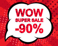 Sale poster with WOW SUPER SALE MINUS 90 PERCENT text. Advertising vector banner. Sale poster with WOW SUPER SALE MINUS 90 PERCENT text. Advertising blue and red Royalty Free Stock Photos
