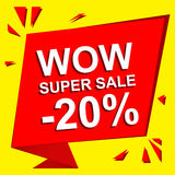 Sale poster with WOW SUPER SALE MINUS 20 PERCENT text. Advertising vector banner. Sale poster with WOW SUPER SALE MINUS 20 PERCENT text. Advertising  and red Stock Photography