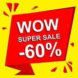 Sale poster with WOW SUPER SALE MINUS 60 PERCENT text. Advertising vector banner Stock Images