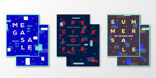 Sale Posters, Cards or Flyer Template Set. Abstract Swiss Style Background with Decorative Elements, Creative Typography Royalty Free Stock Image