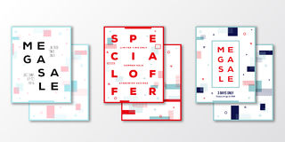Sale Posters, Cards or Flyer Template Set. Modern Abstract Flat Swiss Style Background with Decorative Elements Stock Image