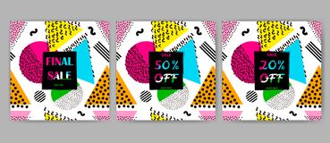 Sale posters set. Colorful geometric background. 80s - 90s years. Style. Vector illustration Stock Photos