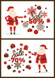 Sale -50 and -70 Posters Set Vector Illustration. Sale -50 and -70 posters set with Santa Claus pointing at stickers with title and icons of presents and Stock Illustration