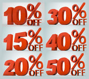 On sale precentages. 6 type of on sale percentages designed especially for the promotion/discount retail season Royalty Free Stock Image