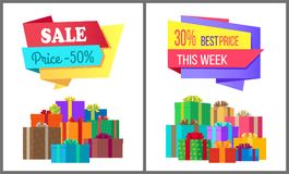 Sale Price 50 Best Offer this Week Special Gifts. Sale price 50 best offer this week special exclusive posters with piles of gift boxes wrapped in decorative Stock Photography