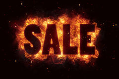 Sale price deal text on fire flames explosion burning. Explode Royalty Free Stock Images