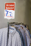 Sale. Price in euro. Sale. Clothes lined up in store. Price in euro. Deutschland Germany Stock Photos