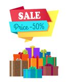 Sale Price 50 Half Cost Special Exclusive Offer. Poster with piles of gift boxes wrapped in decorative color paper, topped by bows vector illustration Stock Photography