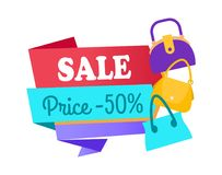 Sale Price 50 Half Special Offer Label Discount. Sale price 50 half discount low cost special offer label tag and sacks, vector illustration of emblem with bags Stock Photos