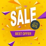Sale price isolated discount offer. On a yellow background Royalty Free Stock Images
