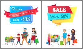 Sale Price 50 off Promo Label People on Banner. Premium quality sale price 50 off promo label on banners set with people on shopping family buying goods vector Stock Illustration