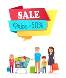Sale Price 50 off Promo Label People on Banner. Sale price 50 off promo label on banner with people on shopping, family mother, father and children buying goods Stock Illustration