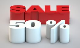 Sale - price reduction of 50. Percent red and white royalty free illustration