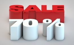 Sale - price reduction of 70. Percent white and red stock illustration