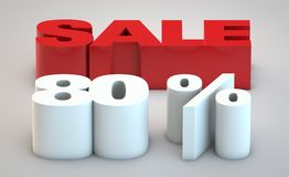 Sale - price reduction of 80. Percent rising from ground vector illustration