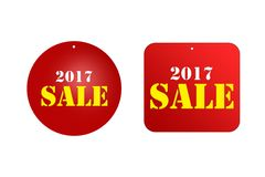 Sale price reduction tag for discounts 2017 Royalty Free Stock Photos