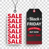 Two Long Price Stickers Black Friday Super SaleTransparent. 2 sale price stickers on the checked background for the black friday Stock Images