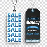 Two Long Price Stickers Cyber Monday Super SaleTransparent. 2 sale price stickers on the checked background for the cyber monday Royalty Free Stock Photography