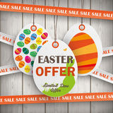 Sale Price Stickers Easter Offer Wooden Wall Royalty Free Stock Photos